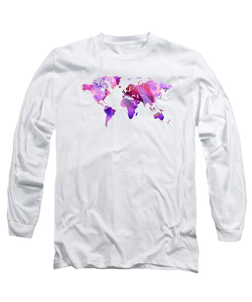 World Map 20 Pink And Purple By Sharon Cummings Long Sleeve T-Shirt