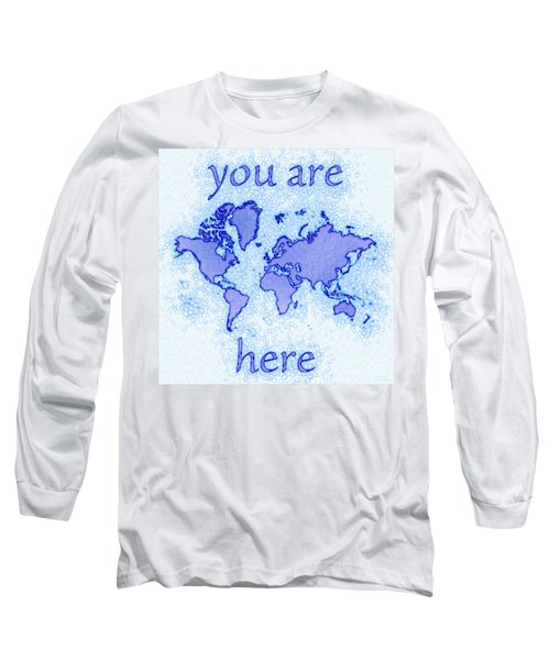 World Map Airy You Are Here In Blue And White Long Sleeve T-Shirt by Eleven Corners