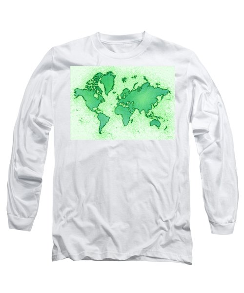 World Map Airy In Green And White Long Sleeve T-Shirt by Eleven Corners