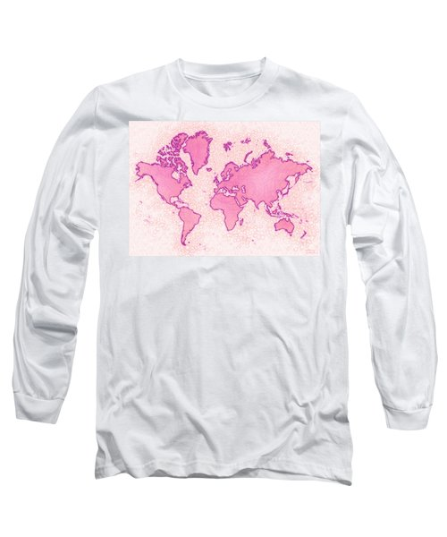 World Map Airy In Pink And White Long Sleeve T-Shirt