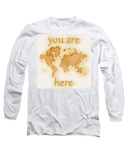 World Map Airy You Are Here In Brown And White  Long Sleeve T-Shirt