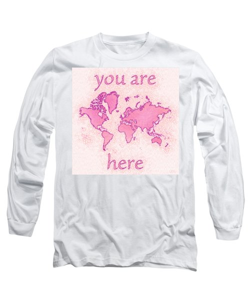 World Map Airy You Are Here In Pink And White Long Sleeve T-Shirt by Eleven Corners