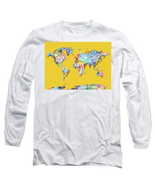 Long Sleeve T-Shirt featuring the digital art World Map Music 13 by Bekim Art