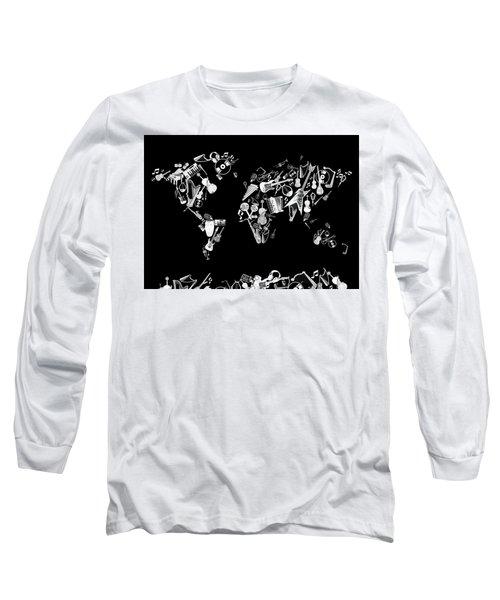 Long Sleeve T-Shirt featuring the digital art World Map Music 5 by Bekim Art