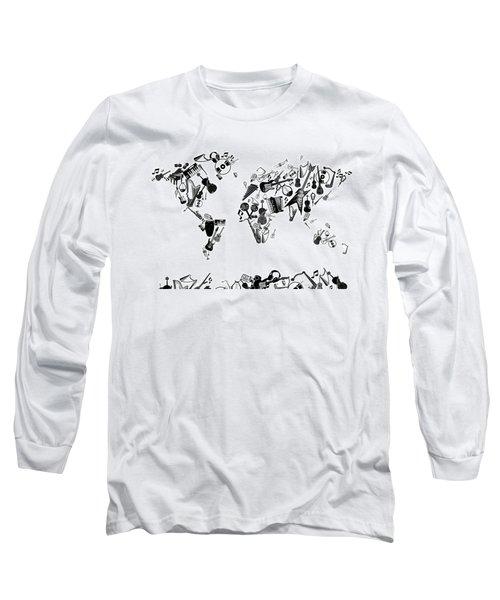 Long Sleeve T-Shirt featuring the digital art World Map Music 7 by Bekim Art