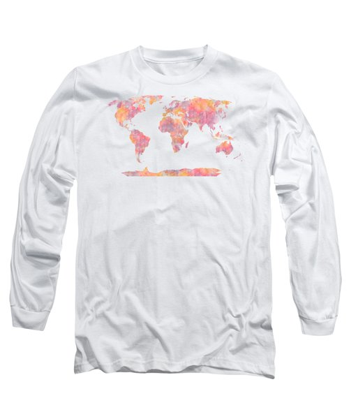 World Map Watercolor Painting Long Sleeve T-Shirt by Georgeta Blanaru