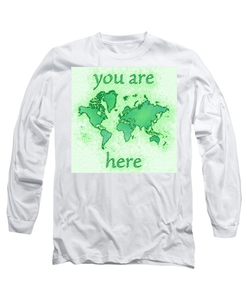 World Map You Are Here Airy In Green And White Long Sleeve T-Shirt