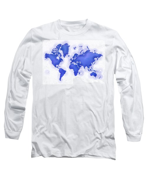 World Map Zona In Blue And White Long Sleeve T-Shirt by Eleven Corners