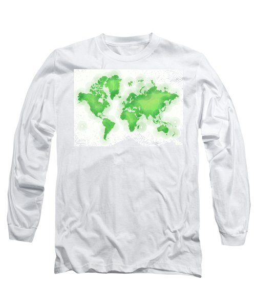 World Map Zona In Green And White Long Sleeve T-Shirt by Eleven Corners