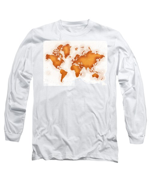 World Map Zona In Orange And White Long Sleeve T-Shirt