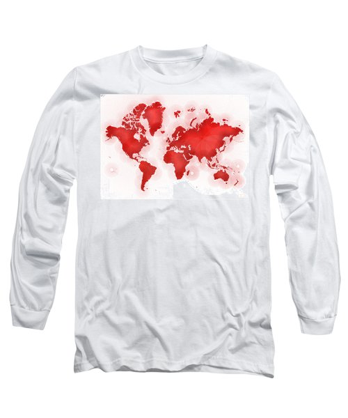 World Map Zona In Red And White Long Sleeve T-Shirt by Eleven Corners