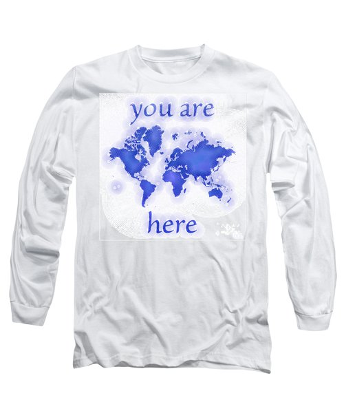 World Map Zona You Are Here In Blue And White Long Sleeve T-Shirt
