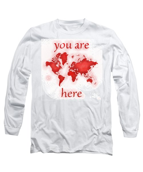 World Map Zona You Are Here In Red And White Long Sleeve T-Shirt by Eleven Corners