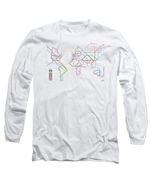 World Metro Tube Subway Map Long Sleeve T-Shirt by Michael Tompsett