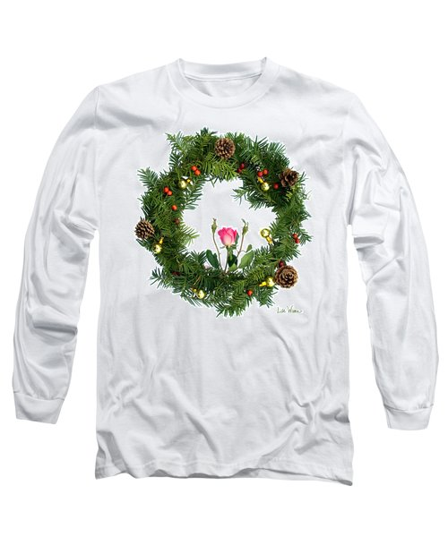 Long Sleeve T-Shirt featuring the digital art Wreath With Rose by Lise Winne