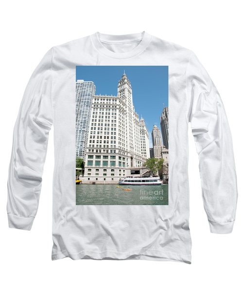 Wrigley Building Overlooking The Chicago River Long Sleeve T-Shirt