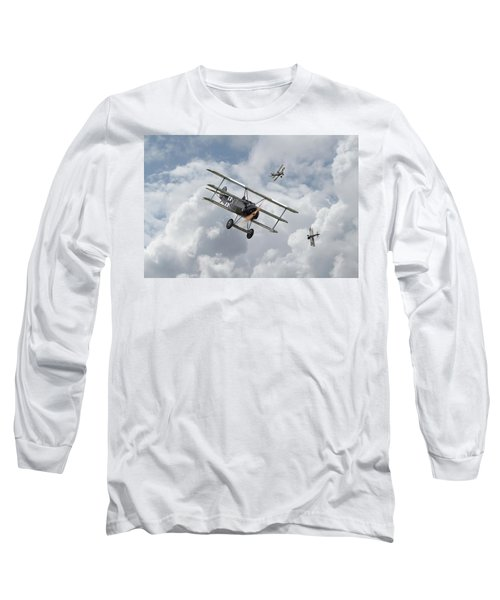 Long Sleeve T-Shirt featuring the photograph Ww1 - Fokker Dr1 - Predator by Pat Speirs