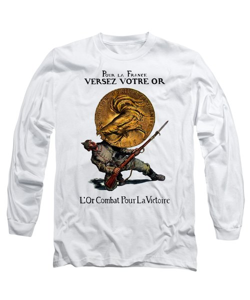 Wwi Gold For French Victory Long Sleeve T-Shirt by Historic Image