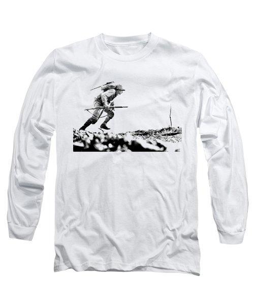 Wwii Marine Crosses Death Valley Okinawa Long Sleeve T-Shirt