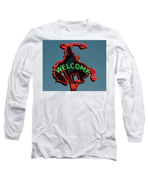 Wyoming Cowboy Vintage Neon Sign Long Sleeve T-Shirt