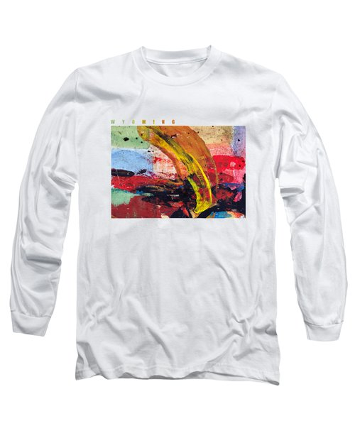 Wyoming Map Art - Painted Map Of Wyoming Long Sleeve T-Shirt