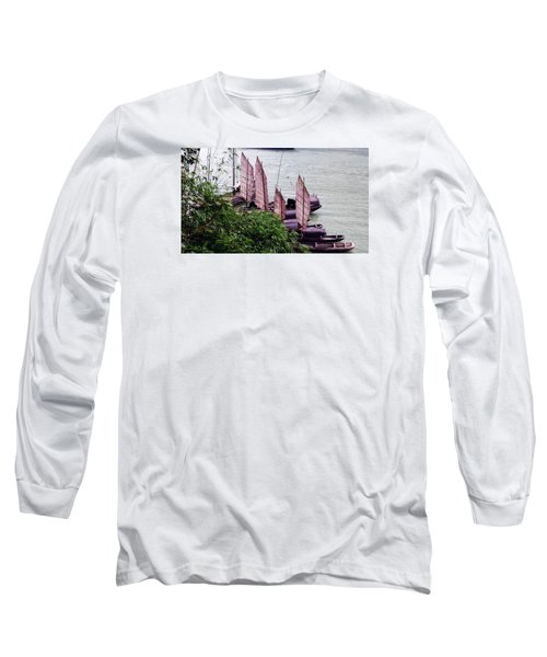 Long Sleeve T-Shirt featuring the photograph Yangtze Boats by Vicky Tarcau