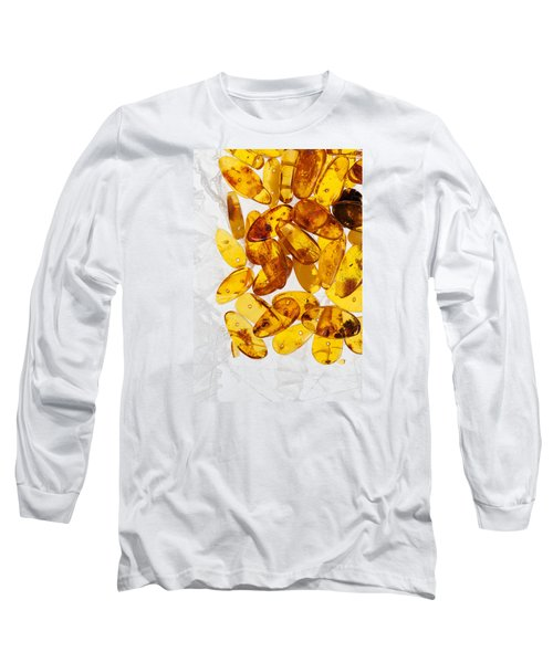 Long Sleeve T-Shirt featuring the photograph Yellow Amber Stones  by Andrey  Godyaykin