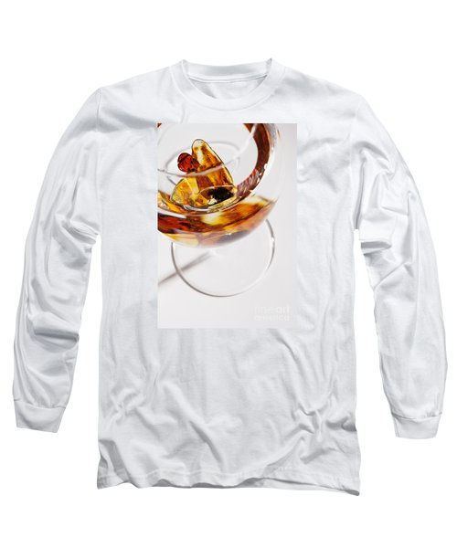 Long Sleeve T-Shirt featuring the photograph Yellow Amber Stones In A Glass. by Andrey  Godyaykin