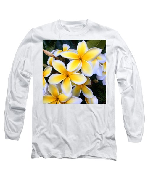 Yellow And White Plumeria Long Sleeve T-Shirt