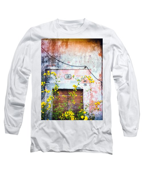 Yellow Flowers And Decayed Wall Long Sleeve T-Shirt