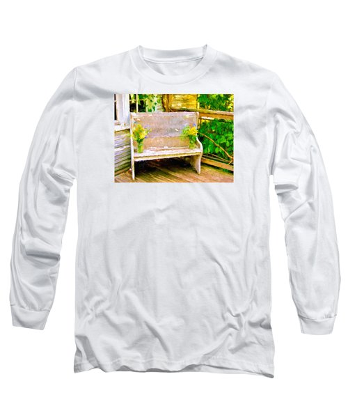 Yellow Flowers On Porch Bench Long Sleeve T-Shirt