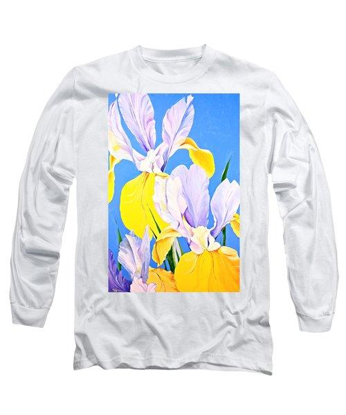 Yellow Irises-posthumously Presented Paintings Of Sachi Spohn  Long Sleeve T-Shirt