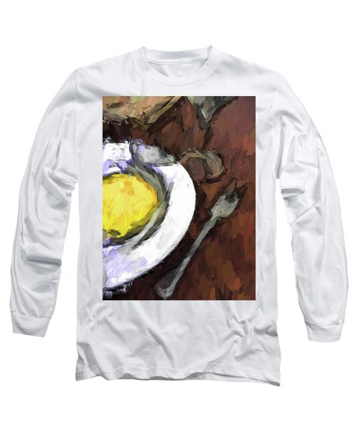 Yellow Lemon In A White Bowl With A Fork And A Wine Glass Long Sleeve T-Shirt