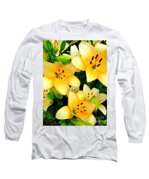 Long Sleeve T-Shirt featuring the photograph Yellow Lilies 3 by Randall Weidner
