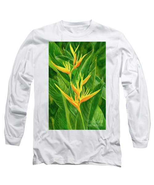 Yellow Orange Heliconia With Leaves Long Sleeve T-Shirt