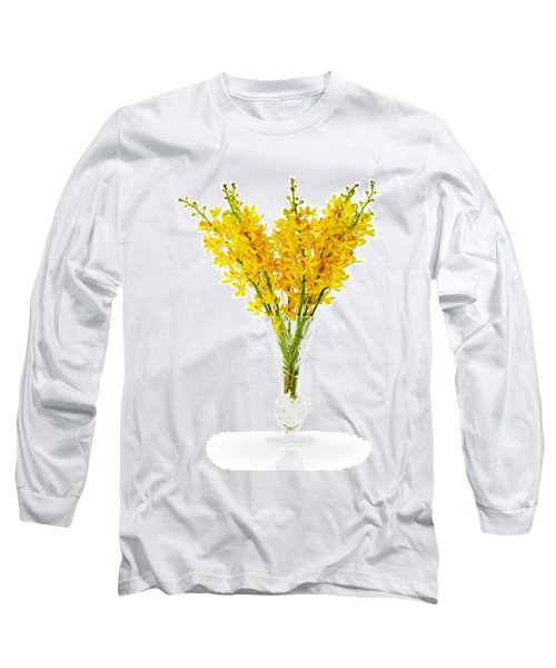 Yellow Orchid In Crystal Vase Long Sleeve T-Shirt by Atiketta Sangasaeng