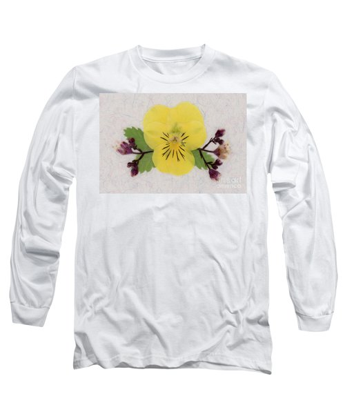 Yellow Pansy And Coral Bells Pressed Flowers Long Sleeve T-Shirt