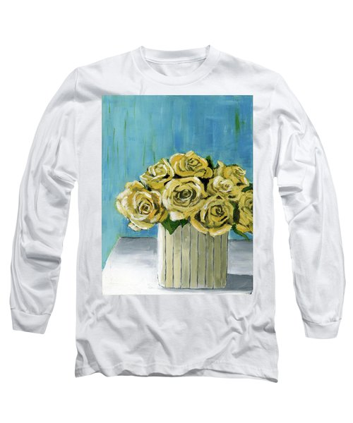Yellow Roses In Vase Long Sleeve T-Shirt