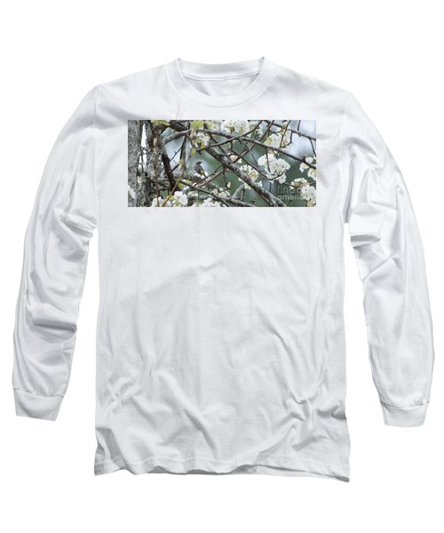 Yellow-rumped Warbler In Pear Tree Long Sleeve T-Shirt