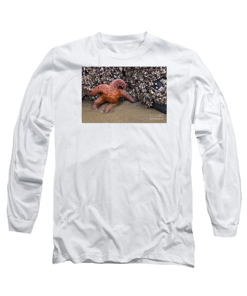 Orange Starfish On Beach #4 Long Sleeve T-Shirt