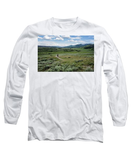 Long Sleeve T-Shirt featuring the photograph Yellow Stone Mountains by Mae Wertz