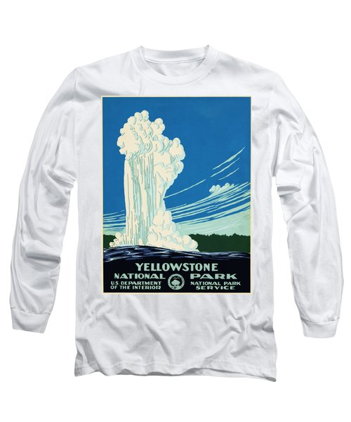 Yellow Stone Park - Vintage Travel Poster Long Sleeve T-Shirt by Ipa