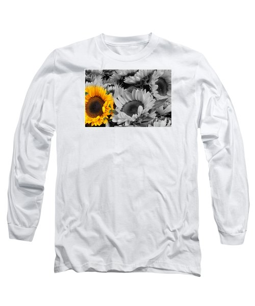 Yellow Sunflower On Black And White Long Sleeve T-Shirt