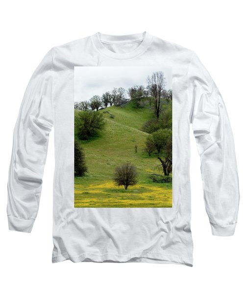 Long Sleeve T-Shirt featuring the photograph Yellow Wildflowers And Oak Trees by Roger Mullenhour