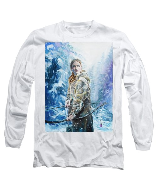 Long Sleeve T-Shirt featuring the painting Ygritte The Wilding by Baroquen Krafts