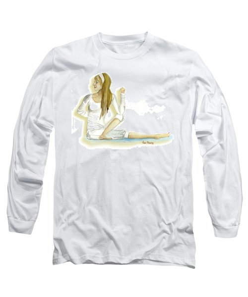 Long Sleeve T-Shirt featuring the painting Yoga Girl by Anne Beverley-Stamps
