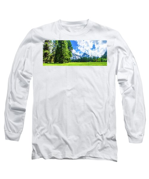 Yosemite Valley And Half Dome Digital Painting Long Sleeve T-Shirt