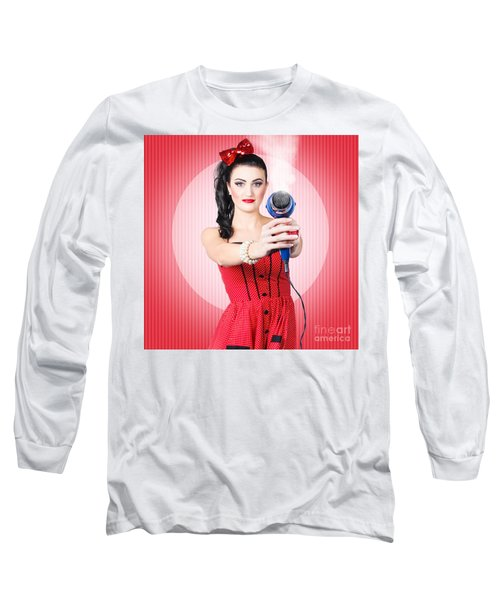 Young Beautiful Girl With Hairdryer. Hair Care Long Sleeve T-Shirt