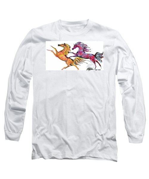 Young Horses Playing Long Sleeve T-Shirt by Stacey Mayer