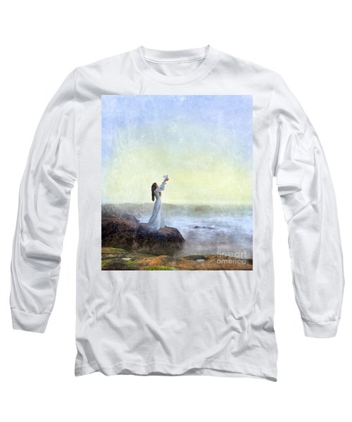 Young Lady Releasing A Dove By The Sea Long Sleeve T-Shirt